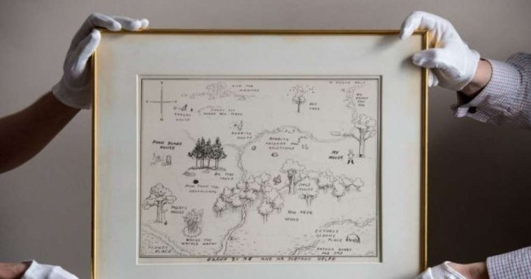 Карта ккниге про Винни Пуха ушла смолотка за $570 тысяч